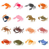 Crab icons set, isometric 3d style Royalty Free Stock Images