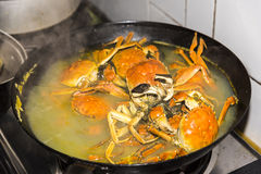 Crab. Within the iron pan cooked crab.This photo was taken in Changdang river,Jintan city,Jiangsu province,china.Photo taken on:Oct 17th,2015 Royalty Free Stock Image