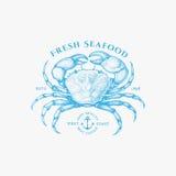 Crab label Royalty Free Stock Photo