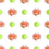 Crab and Lime Seamless Pattern Vector Illustration. Crab and lime seamless pattern crab with claws of red color and lime, citrus with sour taste, pattern vector Royalty Free Stock Photos