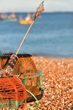 Crab / lobster pots. Crab/ lobster pots on shingle beach Royalty Free Stock Photography
