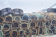 Crab or lobster pots on quayside Royalty Free Stock Photo
