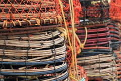 Crab and lobster traps on the pier Royalty Free Stock Images