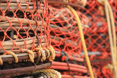 Crab and lobster traps on the pier Royalty Free Stock Photos