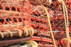 Crab and lobster traps on the pier Stock Photos
