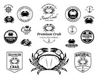 Crab Logos, Labels and Design Elements Royalty Free Stock Photo