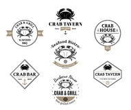 Crab Logos, Labels and Design Elements Stock Photo
