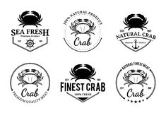 Crab Logos, Labels and Design Elements Stock Photos