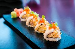 Crab maki roll sushi Royalty Free Stock Images