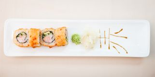 Crab maki with wasabi Royalty Free Stock Images