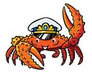 Crab in marine captain cap. Raised a claw. Children vector illustration Stock Photos