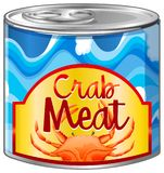 Crab meat in aluminum can. Illustration Royalty Free Stock Photography