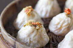 Crab meat buns. Chinese food, steamed bun in bamboo steamer stock photo