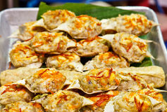 Crab meat cooked in its own shell. Thai dish made of blue crab whose meat is cooked in its own shell Stock Photography