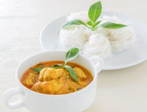 Crab meat curry with rice noodle Stock Image