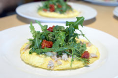 Crab Egg Omelette with Organic Greens Stock Photos