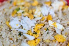 Crab meat fried rice at Thai street food market. Crab meat fried rice is seafood for sale at Thai street food market or restaurant in Bangkok Thailand stock photo