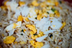 Crab meat fried rice at Thai street food market. Crab meat fried rice is seafood for sale at Thai street food market or restaurant in Bangkok Thailand royalty free stock photography