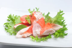 Crab meat (Imitation of surimi) Royalty Free Stock Photography