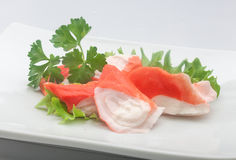 Crab meat (Imitation of surimi) Stock Photo