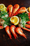 Crab meat with shrimp, herbs and dill stock photography