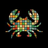 Crab mosaic color silhouette aquatic animal background black Royalty Free Stock Images