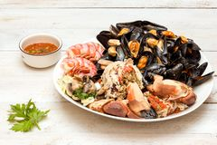 Crab and mussels Royalty Free Stock Images