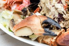 Crab and mussels Royalty Free Stock Photography