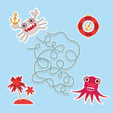 Crab and octopus labyrinth game for Preschool Children. Vector Stock Images