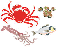 Crab and Other Sea Creatures Set. Crab, Squid, Fish and Snails Illustration Set Stock Photo