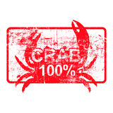 Crab 100 percent - red rubber dirty grungy stamp in rectangular. Vector illustration Royalty Free Stock Photos