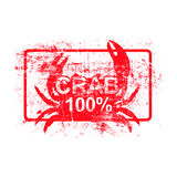 Crab 100 percent - red rubber grungy stamp in rectangular. With dirty background vector illustration Royalty Free Stock Photos