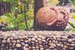Crab pot or brown pot in garden Stock Photos