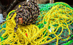 Crab pot with rope Stock Photos