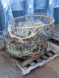 Crab Pots. Two crab pots sit on a dock stock photos