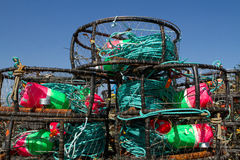 Crab Pots. A stack of colorful crab pots waiting for the season to start stock photos