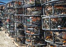 Crab pots at the dock Royalty Free Stock Photos