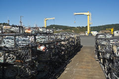 Crab pots at the dolly dock in Port Orford Royalty Free Stock Image