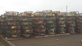 Crab pots waiting use horizontal. Stacks of commercial crab pots waiting to go onto ships, horizontal Royalty Free Stock Images