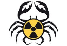 Crab with radioactive sign,  Royalty Free Stock Photos
