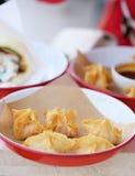 Crab rangoon. In outdoor restaurant Stock Photos