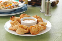 Crab Rangoon with Thai salad Royalty Free Stock Photo