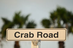 Crab Road Sign. With palm trees in the background stock photography