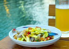 Crab salad as a snack, served with beer. As the popularity of Th Royalty Free Stock Photography