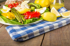 Crab salad with asparagus eggs and peppers Royalty Free Stock Photography