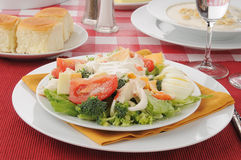 Crab salad with oyster stew Royalty Free Stock Images