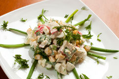 Crab salad with sweet corn Royalty Free Stock Photo