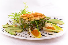 Crab salat. Decorated salad with crab meat Royalty Free Stock Image