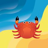 Crab on the sand. Yellow and blue background . Vector illustration Royalty Free Stock Photo
