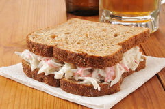Crab sandwich and beer Stock Images